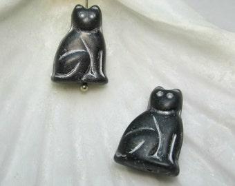 Black Cat Glass Bead, Czech Glass Cat Bead, Halloween Cat Bead