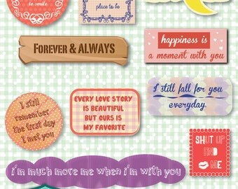 Love Quotes A digital cliparts, digital images, printables, patterns, cards, backgrounds [SC-008]