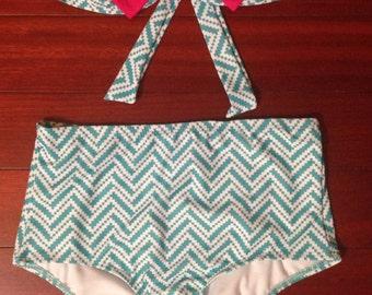 Blue Chevron Bow Bandeau High Waist Bikini