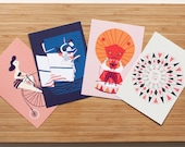 Graphic Pack - postcards - set of four different with a bold and graphic style. Colours are pink, blue, red, black, white, purple