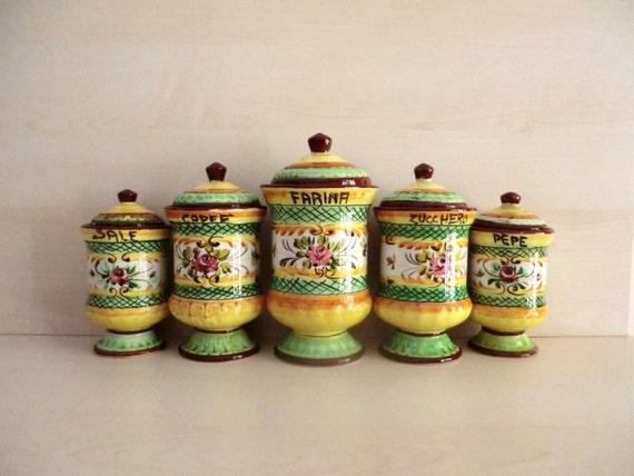 Vintage set di 5 barattoli da cucina in coccio ceramica - Barattoli cucina colorati ...