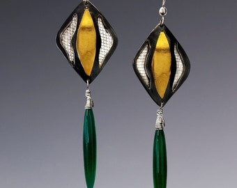 Green Onyx, Sterling Silver and Gold Earrings
