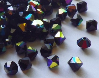 50 Vintage Swarovski Crystal Beads, Jet 5301 With Aurore Boreale Finish, 4mm Jet Black Crystal Beads, 50 Vintage Crystal Beads