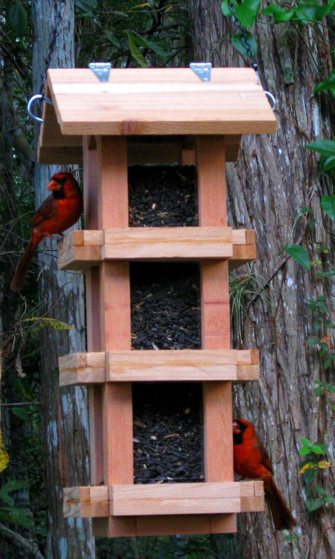 Decorative cedar wood cardinal bird feeder handmade in the for How to make a wooden bird feeder