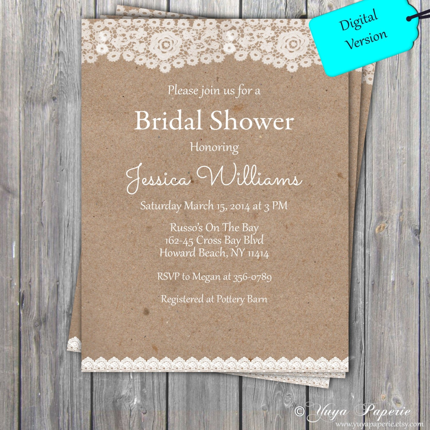 Lace rustic bridal shower invitation adult party invitation for Bridal shower invitation designs