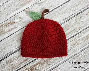 Baby Apple Hat, Newborn Apple Hat, Crochet Apple Hat, Newborn Fall Hat, Newborn Photography Prop