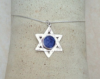 Big David Star pendant , Star of David necklace ,  Sterling silver  Magen David ,  Sodalite stone ,  Judaica , Unisex Necklace