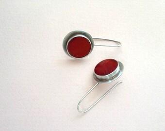 Carnelian silver earrings, Sterling silver earrings , Carnelian stone earrings, handmade red earrings, Classic Design earrings