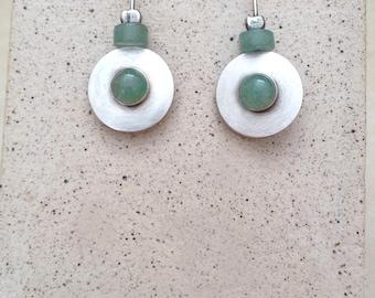 Aventurine  earrings, Sterling silver , Circular earrings, Disc earrings, Handmade , Green earrings