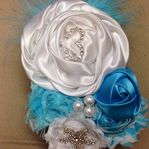 Disney Frozen Elsa Inspired White & Aqua Over the Top Birthday Headband