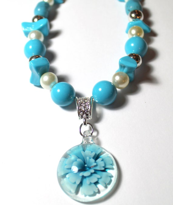 Turquoise Blue and Glass Pearl Necklace with Blue Flower Pendant, Reclaimed Jewelry, Upcycled Jewelry, Flower Necklace, Jewelry Gift for Her