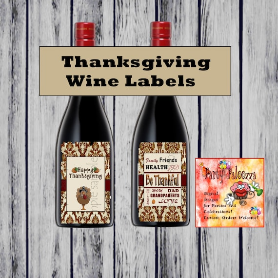 Printable Wine Bottle Labels: Printable Thanksgiving Wine Bottle Labels By PartyPaloozza