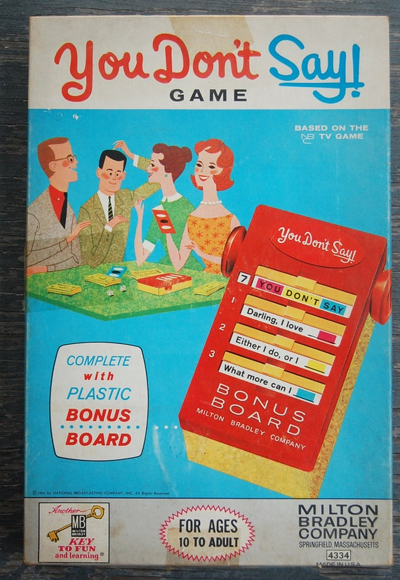 vintage you don 39 t say tv game show milton bradley by. Black Bedroom Furniture Sets. Home Design Ideas