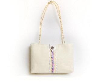 White handbag, Bridal handbag, Cream hand bag, Small handbag, Evening bag white Wedding handbag, Wedding purse, Brides purse, French handbag