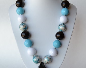 Turquoise & Black CHUNKY necklace with acrylic beads, tiger tail stringing, and metal toggle clasp