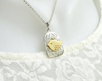 Bird Cage Necklace Gold Silver Bird Necklace Sparrow Necklace Everyday Necklace