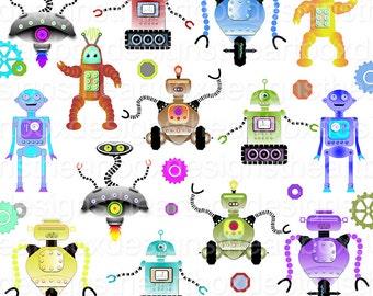 Robot Clipart, 34 Digital Robot Clipart, Robots + Gears and Bolts Clipart, Original Vintage Robot Clipart, Digital Clipart