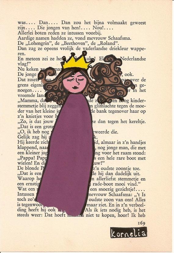Princess Original illustration, Fairytale Painting Girl, Purple Princess Crown, Birthday Gift Girl, Princess Gift Girl