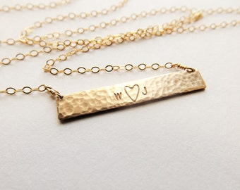 Hammered Gold Bar Love Necklace // Cable Chain
