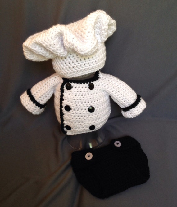 Crochet Pattern Chef Hat : Newborn Chef crochet set hat jacket & diaper cover photo