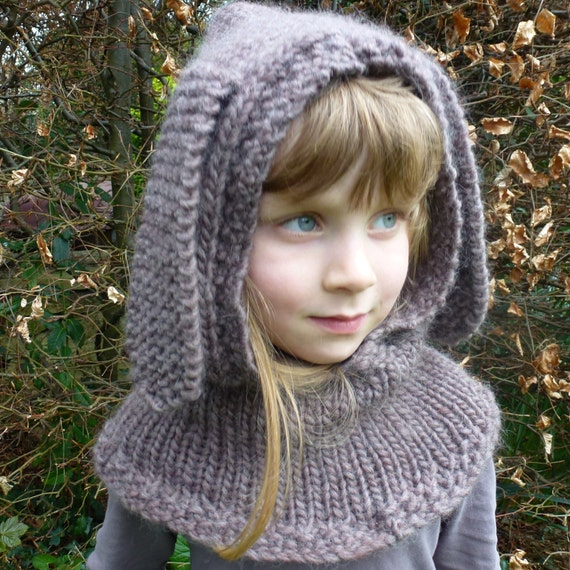 Knitting Pattern Hood With Ears : Knitting Pattern US for Rabbit Hood with choice of ears.