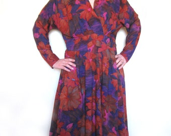 Vintage Floral Day Dress Blue Rust Red Flower print Long Sleeves Midi Dress Plus Size