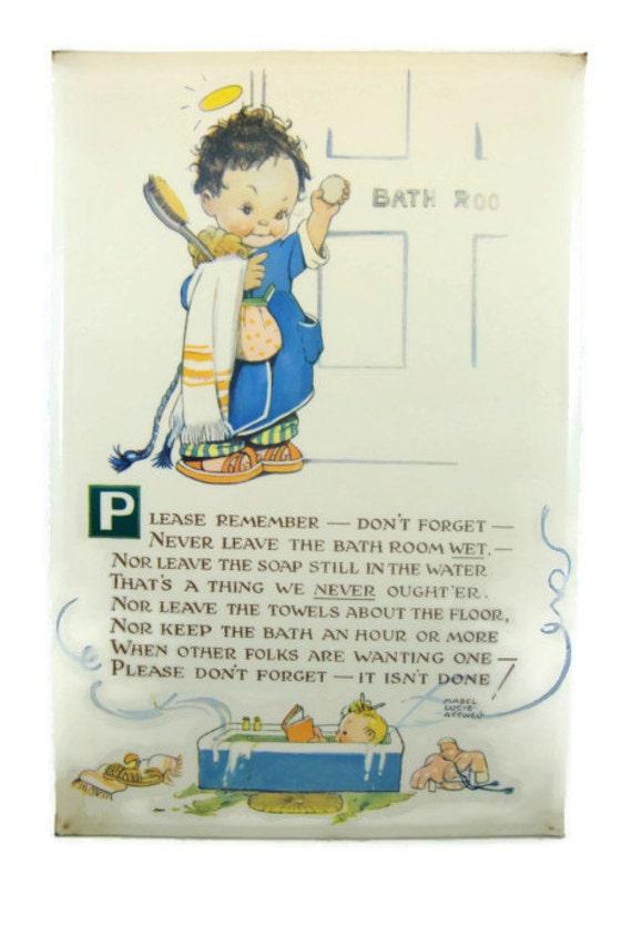 Vintage Mabel Lucie Attwell Bathroom Plaque   Valentine and Sons UK   Valette Washable Series. Vintage Mabel Lucie Attwell Bathroom Plaque by NannysHouseVintage