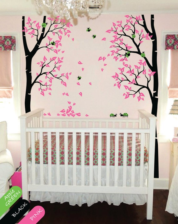 Nursery autumn birch tree wall decal with ladybugs and leaves for Baby nursery tree mural