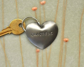 Grateful - Metal Hand Stamped Heart Key-Chain - Great Gift Idea