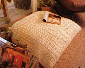 VINTaGE 1970s CABLE ARAN STyLe FLOoR CUSHIoN COVeR RetrO StYle 4 YoUr HoMe 90 Cm'S-Great & EasY 4 GifTs 8 PLy - Knitting Pdf Instant Pattern