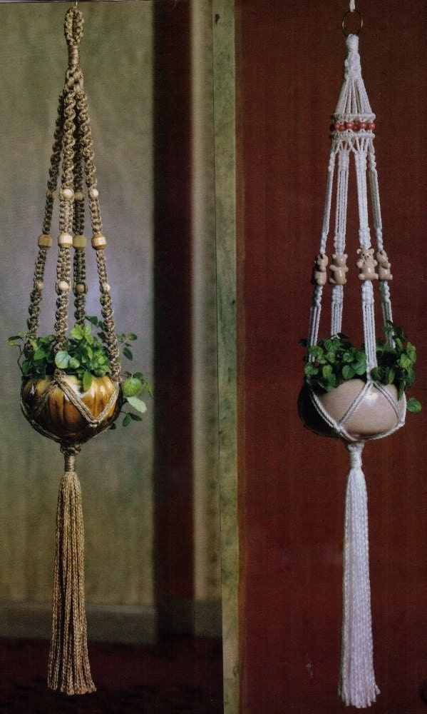macrame patterns hanging basket vintage 1970s macrame hanging pot plant holder or fruit basket 2442