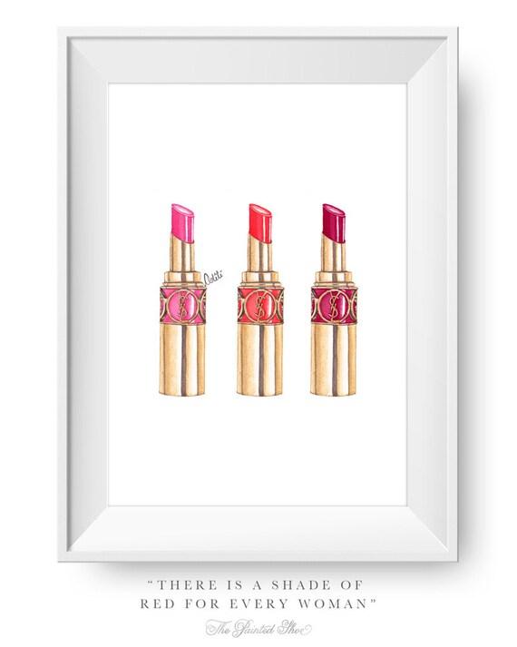 Fashion illustration print fashion art lipstick vanity art
