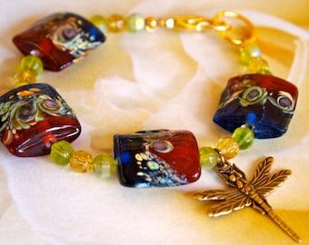 Cobalt Blue Beaded Bracelet, Moonlight Garden Lampwork Glass Beads, Amber Red, Honey, Dragonfly Charm Bracelet, Boho Style