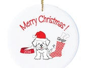 Personalized Christmas Ornament with Maltese Puppy, Puppy Personalized Dog Ornament