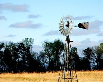 Nebraska Windmill in a Pasture with Soft Grass and Purple Looking Clouds.  Home Decor/ Fine Art Photography
