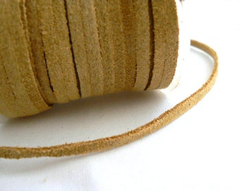 Tan suede leather lace cord  3mm. Genuine Tan cowhide suede leather cord- 1 yard. Jewelry making supplies, native crafts.