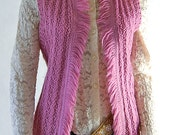Rose knitted wool vest wi...
