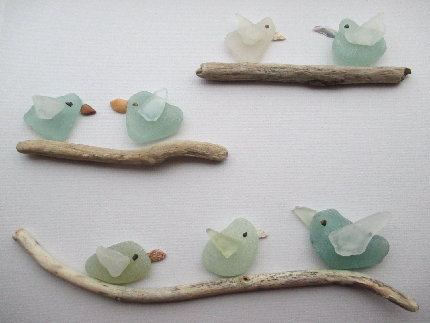 Six Sea Glass And Shell Birds On Driftwood Perches