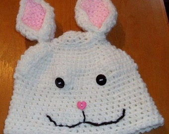 Easter Bunny Beanie Hat, Costume, Photo Prop, Spring, Bunny, Pink, White, April, Holiday, bunny tail, smiling face, happy hoppy, Crochet