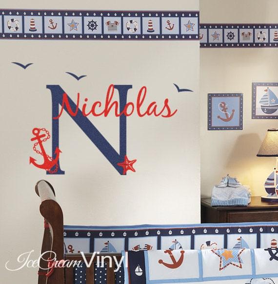 Name Wall Decal - Nautical Decal - Anchor Nursery Baby Room Vinyl Decor
