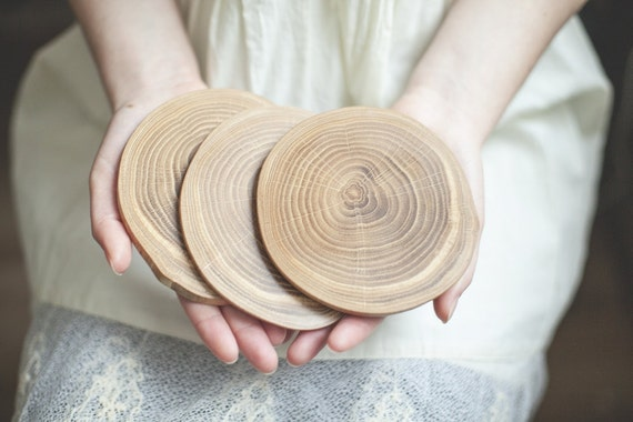 Wooden coaster - Oak wood - Wood slice coaster - Rustic coaster