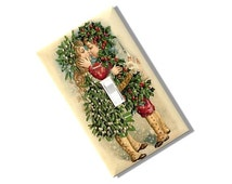 Christmas Kiss Floral Light Switch Cover 1800s repo art print flower gift jingle bell cranberry Kitchen Bedroom Home Decor Houseware Bath