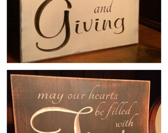 "Custom Carved Wooden Sign - ""May Our Hearts Be Filled With Thanks And Giving"""