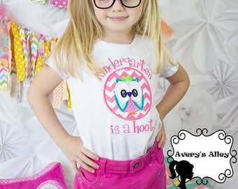 Kindergarten is a Hoot - Any Grade! - Girls White Owl Applique Shirt & Matching Hair Bow Set for Back to School