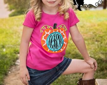 3 letter monogram orange quatrefoil pumpkin - Girls Applique Hot Pink Shirt & Matching Hair Bow Set for Halloween, Thanksgiving, Fall
