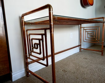 Fantastic Desk Custom Made With Reclaimed Copper Pipe