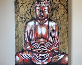 ORIGINAL Buddha Painting (Red/Gold)
