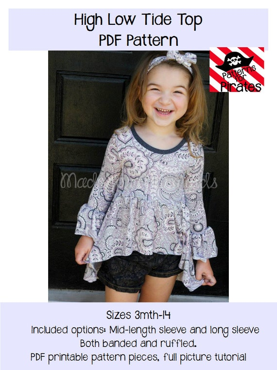 High Low Tide Top PDF Sewing Pattern- knit shirt for girls sizes 3m-14