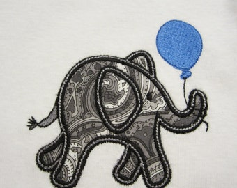 Elephant Embroidered Applique  with balloon Baby One Piece Bodysuit