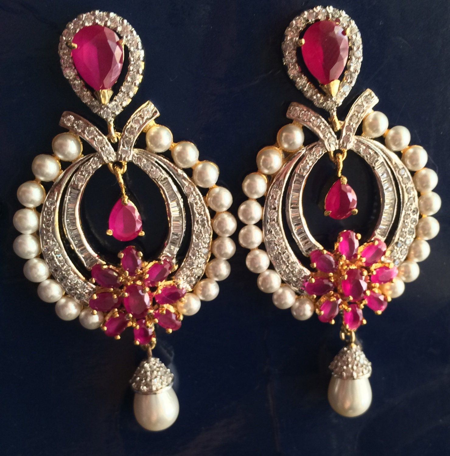 indian earrings bollywood ruby earrings indian wedding. Black Bedroom Furniture Sets. Home Design Ideas